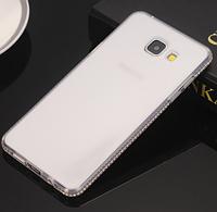Силиконовый прозрачный чехол с камнями Сваровски для Samsung Galaxy A7 (2016)