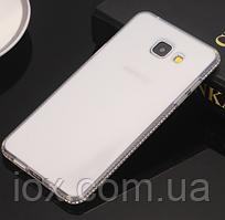 Силиконовый прозрачный чехол с камнями Сваровски для Samsung Galaxy A7 (2017)