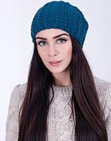 Красивая вязаная женская шапка 3065 (морская волна)