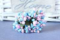 """Добавка """"сложные тычинки микс """"  около 144 шт/уп цвета """"нежно-розовый + голубой"""" оптом"""