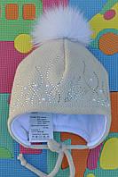 Зимние шапки меховыми помпонами., фото 1