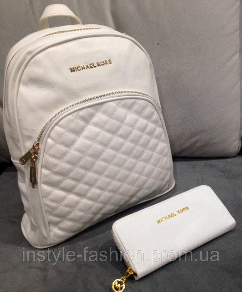 5ae195f95611 Рюкзак женский брендовый сумка Michael Kors Майкл Корс белый  купить ...