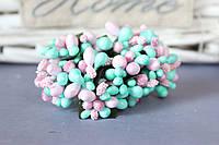 """Добавка """"сложные тычинки микс """"  около 144 шт/уп цвета """"нежно-розовый + тиффани"""" оптом"""