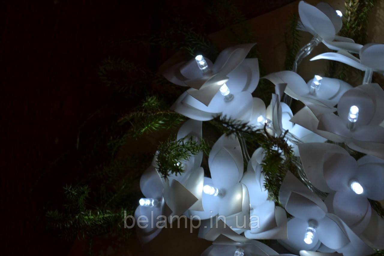 Гирлянда на батарейках 4 метра  - 40 пушистых орхидей