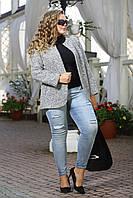 Жакет Пандора серый шерсть букле без застежки большого размера 48-94 батал