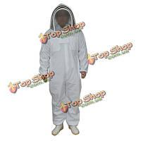 Белый хлопок профессиональный защитные пчеловоды одежда пчела костюм с фехтования завесы 3 размеров