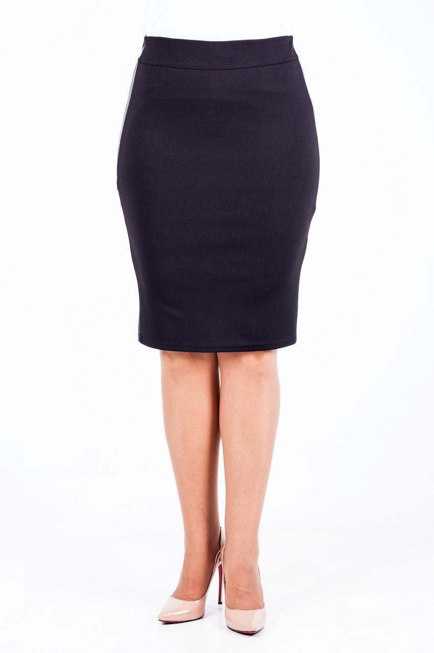 54c17bd45cc Черная трикотажная юбка-карандаш за колено - EVA LOOK в Хмельницком
