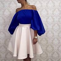 Короткое платье с юбкой солнце-клеш