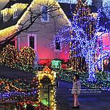 Уличная гирлянда светодиодная на 100 ламп, 10 метров (мульти,синяя, желтая) , фото 4