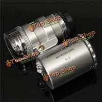 Мини-60x увеличительное лупа лупа глаз LED // УФ световой микроскоп