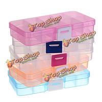 10 слотов пластиковые бусины организатор ящик для хранения ювелирных изделий ремесла регулируется случай