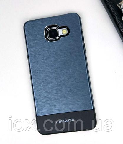 Двойной чехол карбон (синий) Motomo для Samsung Galaxy A3 (2016)