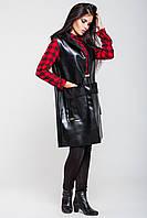Удлиненный женский кожаный жилет | черный