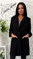 Женское черное кашемировое пальто