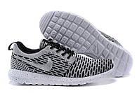 Кроссовки мужские беговые Nike Roshe Run Flyknit London Grey (в стиле найк роше ран) серые