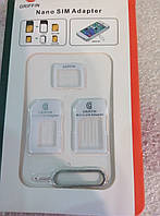 Переходник для SIM карт NOOSY 3 в 1, micro-nano, micro-sim, nano-sim, White