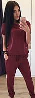 Ангоровый женский комбинезон свободного фасона с коротким рукавом и карманами