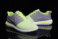 Кроссовки мужские беговые Nike Roshe Run Flyknit  Green Grey (в стиле найк роше ран) серые
