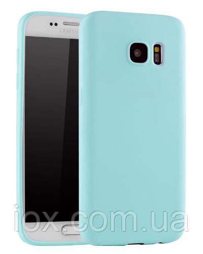 Ультратонкий чехол силиконовый голубой для Samsung Galaxy S7 Edge