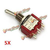 AC 120В 5a 6 штырьков переключения Кулисный красный вкл/выкл/вкл DPDT 5шт MTS-203 wendao