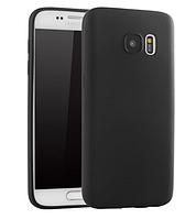 Ультратонкий чехол силиконовый черный для Samsung Galaxy S7 Edge