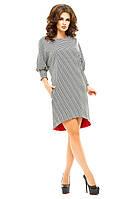 Женское прямокройное ассиметричное платье с разрезом сзади на молнии