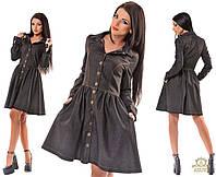 Женское джинсовое платье на заклепках. Цвета черный и синее  Размеры S-XL OD5187