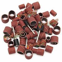 63шт 80grit барабан шлифовальной комплект 1/2 3/8 1/4-дюйма песка сердечники подходят Dremel сверло ногтя ротационные инструменты
