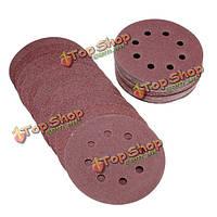 50шт 5-дюймов 8 отверстий 80/120/180/240/320 грит шлифовальный диск инструмент полировки