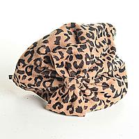 Обруч на голову шляпка бежевая с леопардовым принтом и бантом, 12см
