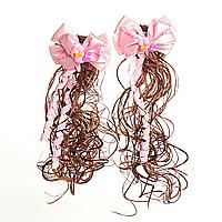 [20/6см] Заколки хвостики кучеряшки с розовыми бантами и искусственным волосом