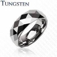 Кольцо из карбида вольфрама с треугольной мозаикой R-TU-008