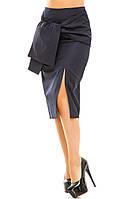 Женская юбка карандаш с завязным широким поясом впереди
