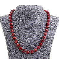 Бусы Яшма красная, натуральный камень,  шарик 8 мм, длина 50см