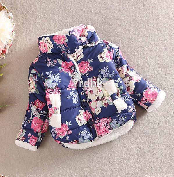 Куртка цветочная на меху (син) 100