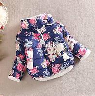 Куртка цветочная на меху (син) 100, фото 1