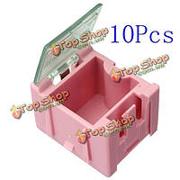 10шт мини-esd SMD конденсатор резистора чипа составляющая розовая коробка