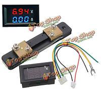 Постоянного тока 100v 50А двойной LED отображения метр напряжения с токового шунта