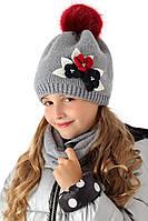 Детская шапочка для девочки серого цвета, MARIKA (Польша)