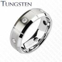 Сегментированное вольфрамовое кольцо с камнями R-TU-141