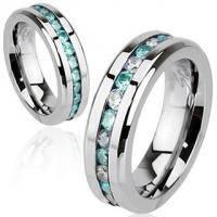 Кольцо с полосой из белых и голубых камней R-H1571