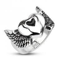 Мужское кольцо Крылатое сердце ангела H2089