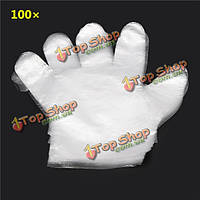 100шт пэ прозрачные одноразовые перчатки cleanining общественного питания еды перчатку