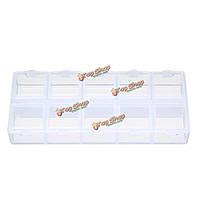 Двойные стороны 10 слотов отсек пластиковый ящик для хранения прозрачный чехол инструмент