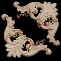8x8см неокрашенные деревянные резные углу аппликация для украшения дома мебели