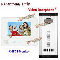 Эннио sy811wmc16 6 квартира семьи видео домофон домофон водонепроницаемый дверной звонок камеры 6 мониторов