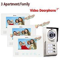 3 квартиры семья видео домофон домофон водонепроницаемый дверной звонок камеры 3 монитора SY811WMC13 Эннио