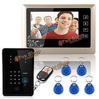 """Проводной 7"""" видео домофон домофон радиочастотная идентификация клавиатуры дверного звонка 1000tvl монитор камеры SY809MJIDS11 Эннио"""