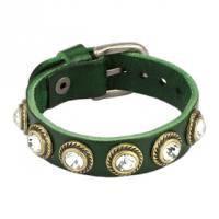 Женский кожаный браслет с камнями, на пряжке SL0130