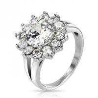 Кольцо стального цвета с цветком из россыпи камней R-M2594